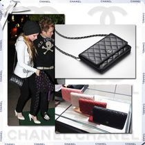 CHANEL CHAIN WALLET Black/SHW Lambksin Classic Quilted Wallet On Chain