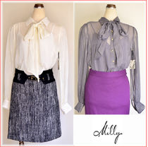 Milly Silk Long Sleeves Party Style Shirts & Blouses