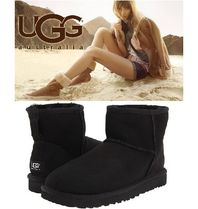 UGG Australia CLASSIC MINI Round Toe Rubber Sole Casual Style Sheepskin Suede Plain