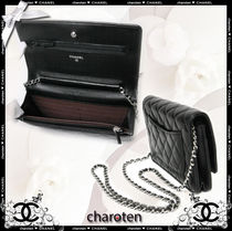 CHANEL CHAIN WALLET Black/GHW Lambskin Classic Quilted Wallet On Chain