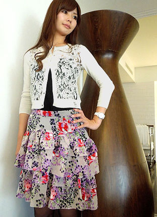 Flared Skirts Flower Patterns Silk Skirts