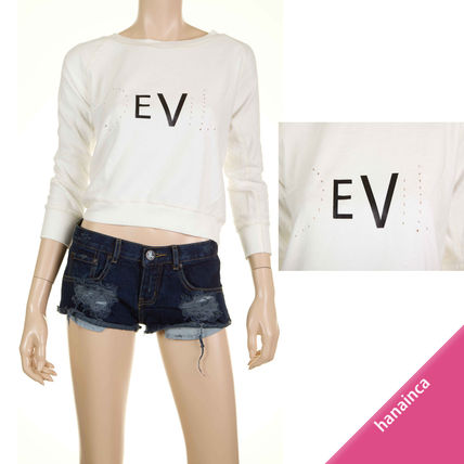 Crew Neck Short Long Sleeves Cotton Cropped