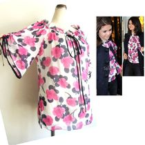 Milly Flower Patterns Silk Dolman Sleeves Shirts & Blouses