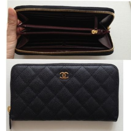 CHANEL MATELASSE Unisex Calfskin Plain Long Wallets