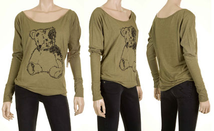 Crew Neck Dolman Sleeves Other Animal Patterns Cotton