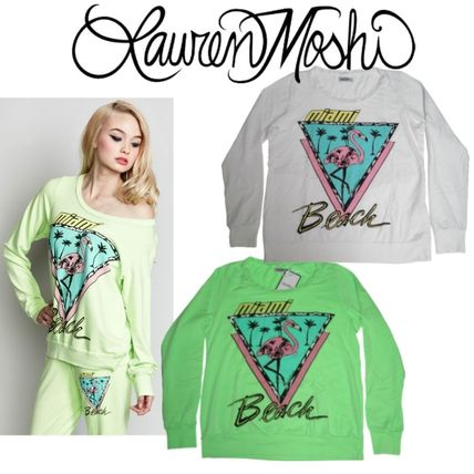 Crew Neck Tropical Patterns Sweat Street Style Long Sleeves