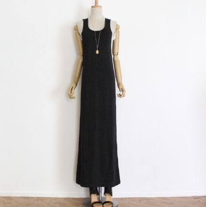 Maxi Sleeveless U-Neck Plain Long Dresses