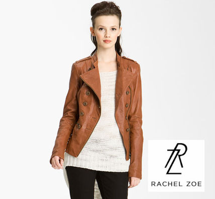 Short Casual Style Plain Leather Jackets