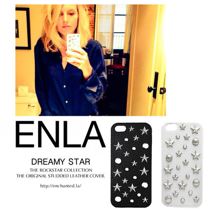 Star Dots Unisex Blended Fabrics Studded Leather iPhone 8