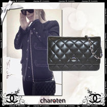 CHANEL CHAIN WALLET Black/SHW Lambskin Classic Quilted Wallet On Chain