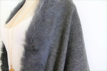 Casual Style Wool Blended Fabrics Plain Party Style Fringes