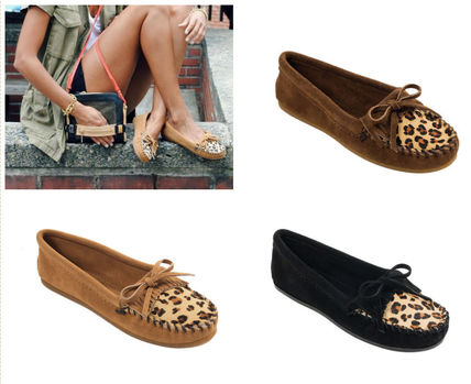 Leopard Patterns Moccasin Suede Flats