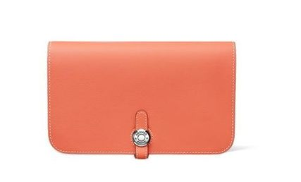 HERMES Long Wallets Dogon Monotone Or Two-Toned Smooth Leather Long Wallet 5