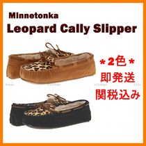Minnetonka Leopard Patterns Moccasin Round Toe Casual Style Suede