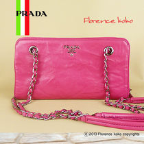 PRADA Fuchsia Pink Nappa Leather Snap Closure Chain Shoulder Bag