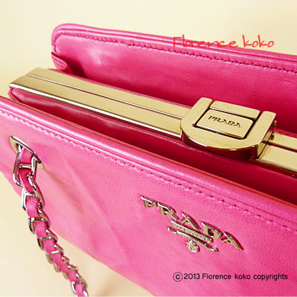 PRADA Shoulder Bags Fuchsia Pink Nappa Leather Snap Closure Chain Shoulder Bag 2