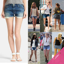 Current Elliott Short Blended Fabrics Plain Cotton Denim & Cotton Shorts
