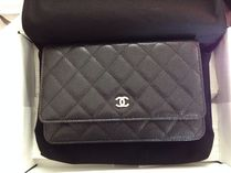 CHANEL CHAIN WALLET 2WAY 3WAY Plain Leather Party Style Elegant Style Crossbody
