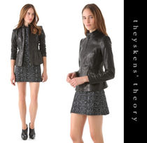 Theyskens' Theory Short Casual Style Plain Leather Jackets