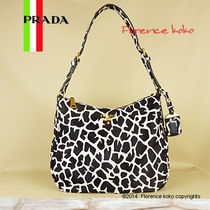 PRADA Bianco White & Black Zebra Print Spawn Leather Shoulder Bag