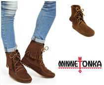 Minnetonka Rubber Sole Suede Plain Fringes Ankle & Booties Boots