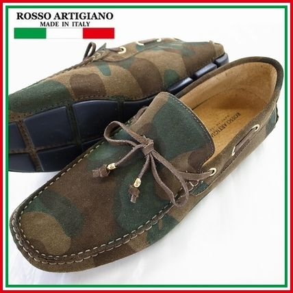 Camouflage Driving Shoes Leather Loafers & Slip-ons