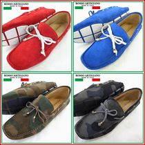 ROSSO ARTIGIANO Camouflage Driving Shoes Plain Leather Loafers & Slip-ons