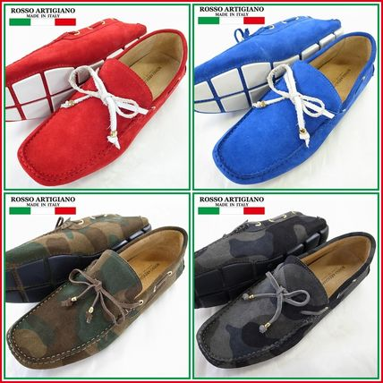 Camouflage Driving Shoes Plain Leather Loafers & Slip-ons