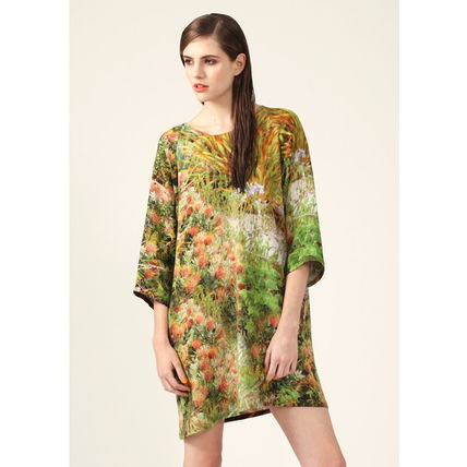 Crew Neck Flower Patterns Tropical Patterns Silk Cropped