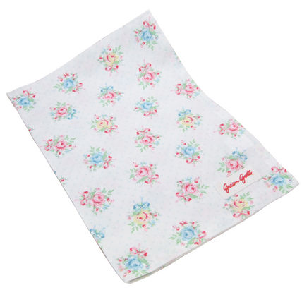 Green gate Tea towel serine white