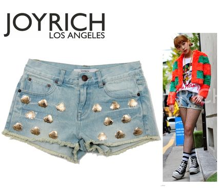 Short Studded Plain Cotton Denim & Cotton Shorts