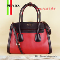 PRADA Fuoco Red & Black CIty Calf/Saffiano Leather Tote Bag