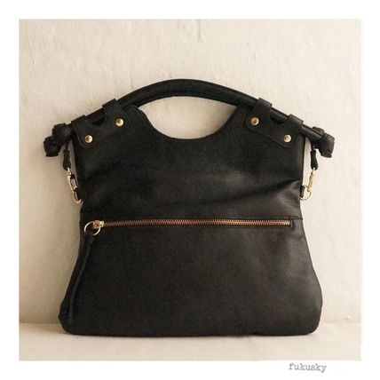 3WAY Plain Leather Shoulder Bags