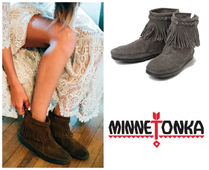 Minnetonka Rubber Sole Suede Plain Handmade Fringes