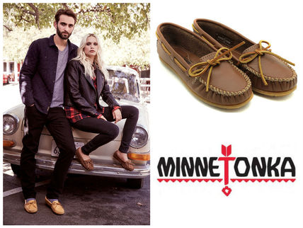 Moccasin Rubber Sole Plain Leather Flats