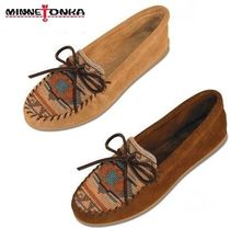 Minnetonka Moccasin Rubber Sole Suede Plain With Jewels