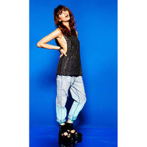 EVIL TWIN Studded Plain Cotton Long Wide & Flared Jeans