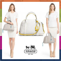 Coach BLEECKER White/Yellow Edgepaint Leather Preston Satchel Bag