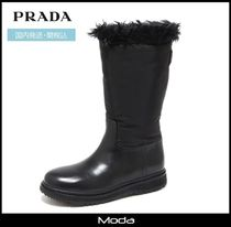 PRADA Plain Toe Mountain Boots Street Style Plain Leather