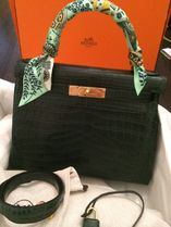 HERMES Kelly Vert Fonce(Dark Green)/GHW Niloticus Crocodile 28 Bag