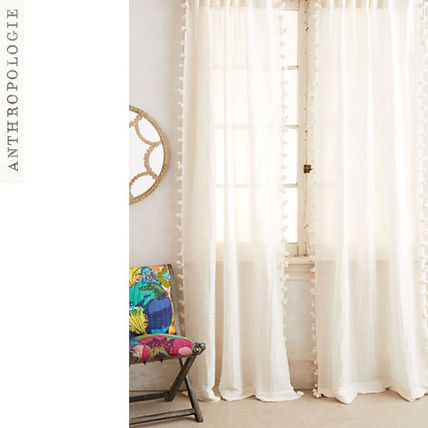 Anthology Polo Pompon Curtain Cream 1 or 2 sheets