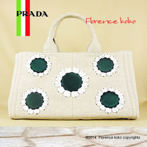 PRADA CANAPA Natural/Green Flower Embellished Canapa Tote Bag