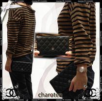 CHANEL CHAIN WALLET Calfskin Chain Plain Long Wallets