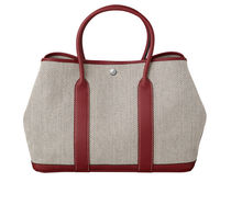 HERMES Garden Party Graphite canvas with rougre ash leather Garden Party tote