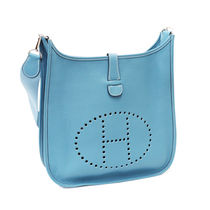 HERMES Evelyne Blue Jean/SHW Taurillon Clemence III 29 Medium Bag