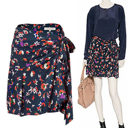 Flared Skirts Flower Patterns Silk Medium Skirts