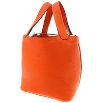 HERMES Picotin Feu Orange/SHW Taurillon Clemence Picotin PM Bag