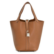 HERMES Picotin Gold/SHW Taurillon Clemence PM Bag