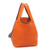 HERMES Picotin Orange/SHW Taurillon Clemence Picotin PM Bag