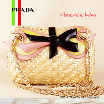 PRADA Natuarale(Tan) Basket Weave Chain Shoulder Bag With RIbbon